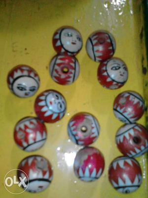 Antique Vintage Handmade and Hand painted wooden beads
