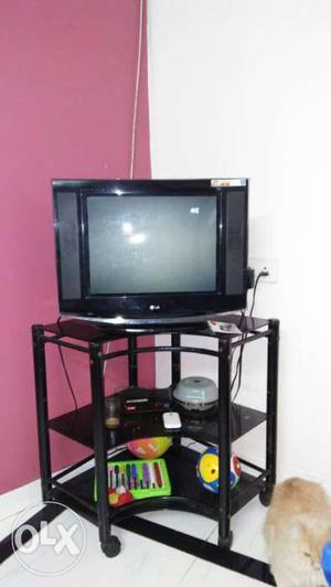 Black Lg Crt Tv nd TV stand