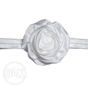 White Satin Flower Baby Headband for Newborn Girls