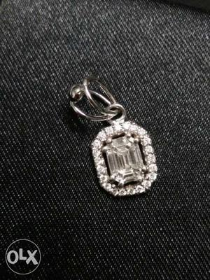 Gold And Diamond Emraled Cut Pendent