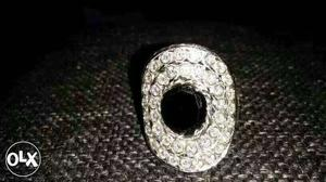 Men Diamond And Silver Oval Ring