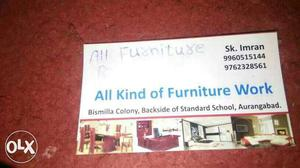 All Kind Of Furniture Work Calling Card
