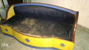 Black And Yellow Wooden Bench
