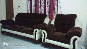 Brown And White Couch; Brown And White Armchair
