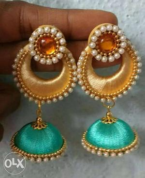 Pair Of Green And Brown Silk Thread Jhumka Earrings
