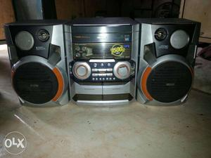 Gray And Black Philips Shelf Stereo