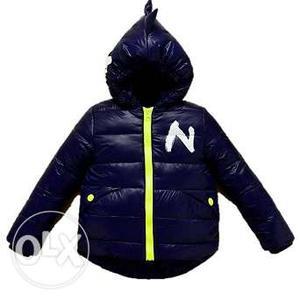 Baby Blue Hooded Down Winter Wear Coat for Kids