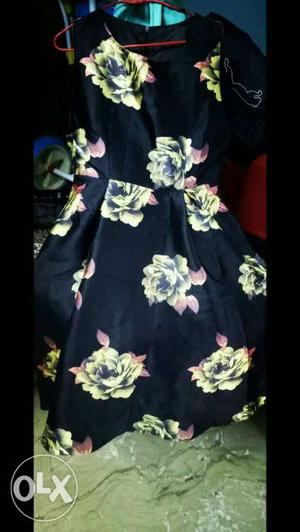 Black And Yellow Floral Mini Dress
