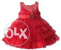 Cute Red 5th Birthday Dress for Baby Girls