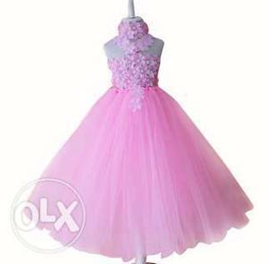 Little Girl Pink Flower Tutu Dress for Weddings