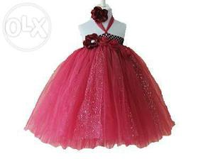 Red Baby Tutu Birthday Party Dress With Hair Band