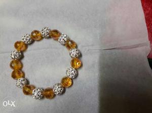 Cute Crystal beads ladies bracelet.orange and
