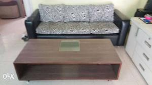Rectangular Brown Wooden Table And Black Leather And White 3