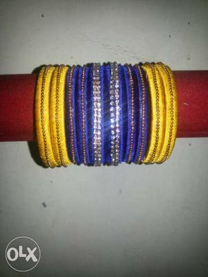 Blue And Yellow Beaded Bangle Bracelet