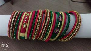 Green And Red Silk Bangle Bracelets