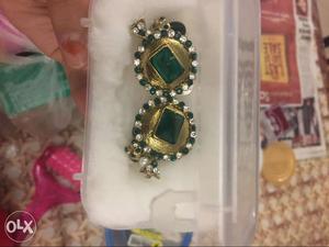 Kundan look bottle green earrings. hardly used