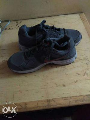 Pair Of Black-and-gray Mesh Athletic Shoes