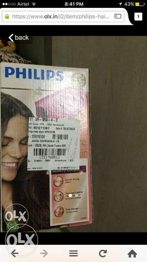 Philips unused hair dryer is for sale for 800rs