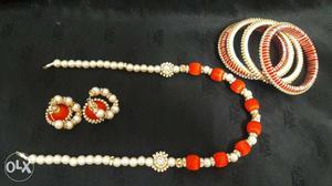 White And Orange Bangle Bracelets