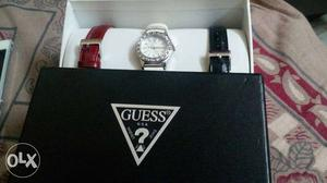 White And Silver Guess Analog Watch