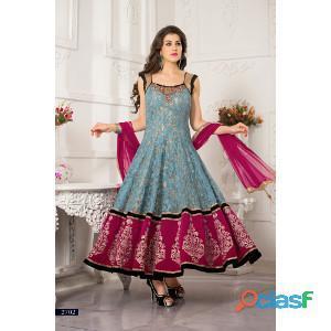 Get best deals on Grey & Pink Net Long Length Anarkali