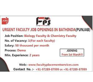 Recent Teacher Faculty Jobs in India | FPS