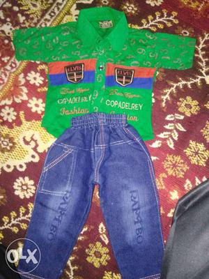 Blue Jeans & green shirt for 1 to 2 years boy. box pack.