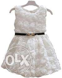 Elegant White Flower Birthday Party Dress for Kids Girls