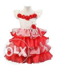 Smart Red Flower Kids Birthday Dress for Baby Girl