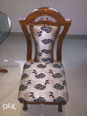 Black And White Floral Lead Padded Brown Wooden Frame Chair