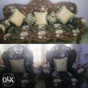 Two Brown And White Suede Armchairs; And Three Seater Couch