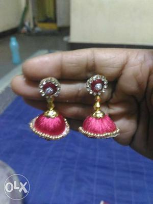 Beaded Yellow Pink Silk Thread Jhumka Earrings