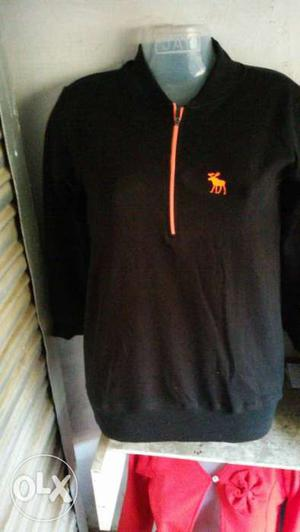 Black Abercrombie And Fitch Zip Sweater