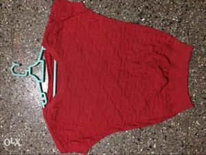 Brand New red color shimmer T Shirt with boat neck,