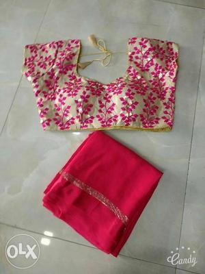 Brown And Pink Floral Accent Sleeveless Top And Pink Fabric