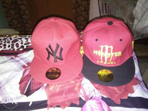 Red New York Yankees Baseball Cap; Red And Black Monster