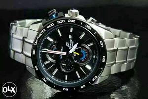 Round Black Chronograph Watch With Silver Link