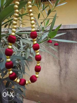 Silk Thread Jewellery - Necklace with Jhumka set