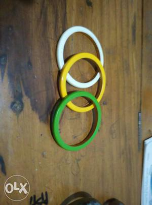 Tricolor bangles of yellow, white and green colors