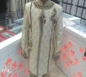 White And maroon Sherwani one time use only..A1 condition