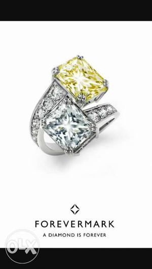 Yellow stone and white American diamond Ring in