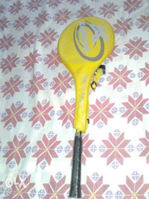 Yellow Badminton Racket With Yellow Leather Case