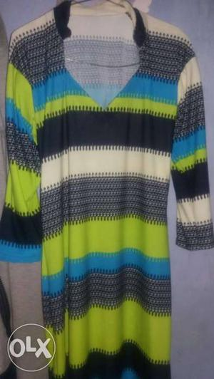 Black, White, Blue, And Green Striped V Neck Elbow Sleeve