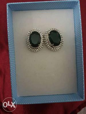2 Black Diamond With Silver Earings