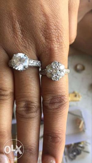 2 Silver And Diamond Rings