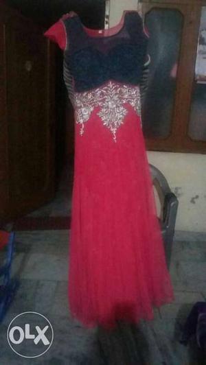 Black And Red Chiffon Sleeveless Dress