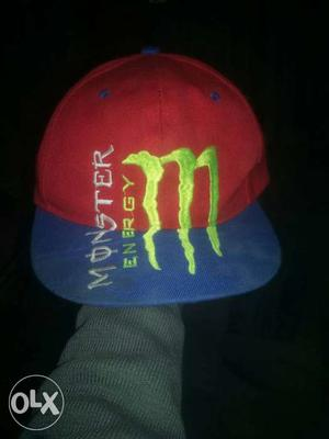 Blue And Red Monster Energy Fitted Cap