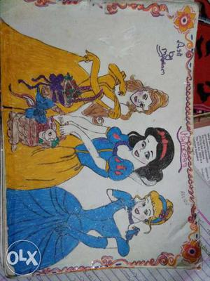 Disney Princess Belle, Snow White And Cinderella Colored