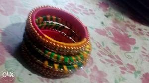 Four Multi-colored Bangle Bracelets