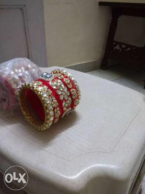 Red And Gold Diamond Beaded Bangle Bracelet